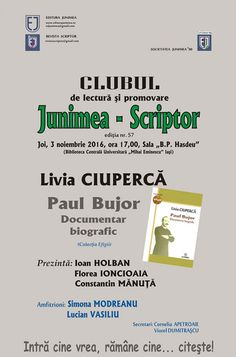 """O noua intalnire a Clubului de lectura si promovare """"Junimea – Scriptor"""" Boarding Pass, Club, Journals"""