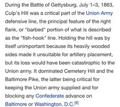 Culp's Hill was the key to supplies for the Union Army
