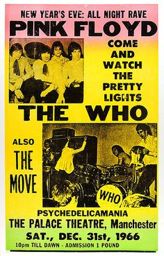 "Pink Floyd The Who The Move 1966 Concert Poster 16"" x 12"" Promo Photograph 