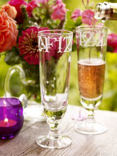 Handmade champagne flutes from Emma Bridgewater make a lovely wedding gift.