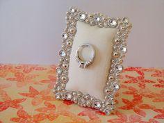 Wedding ring holder rectangle faux diamond & silver frame: engagement ring holder, bridal shower gift, for her, ring stand