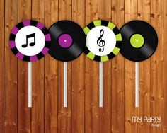 Ideas for birthday party cupcake toppers 50s Theme Parties, Music Themed Parties, Music Party, Mouse Parties, Karaoke Party, Party Rock, Rockstar Party, Motown Party, Grease Party