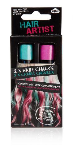 set de 2 craies de coloration temporaire pour cheveux une verte et une rose - Coloration Temporaire Cheveux