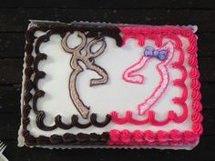 Pink And Blue Gender Reveal Sheet Cake Deer Hunter Buck
