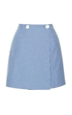 Gingham Stretch Cotton Wrap Mini Skirt by Harbison for Preorder on Moda Operandi