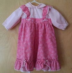 Vintage Baby Girl Long Dress 6-12M Pink Floral Calico Pinafore Long Sleeves Doll #Unbranded #DressyEveryday