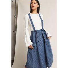 Forever21 Pinstripe Overall Skirt ($38) ❤ liked on Polyvore featuring skirts, denim, pinstripe skirt, knot skirt, button skirt, forever 21 skirts and full length skirt