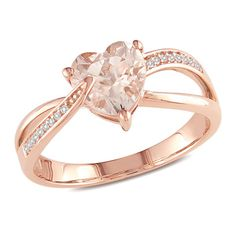 7.0mm Heart-Shaped Morganite and Diamond Accent Ring in 10K Rose Gold  Zales  Orig. $499.00