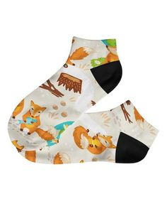 Cream & Brown Fox Ankle Socks #zulily #zulilyfinds
