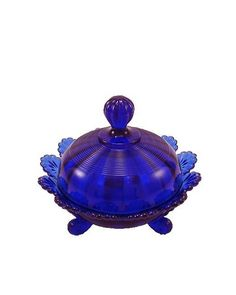 *BUTTER DISH ~ cobalt blue glass small obsession with cobalt would so use this for something other than butter