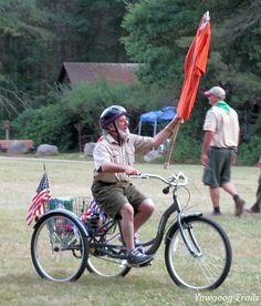 "Yawgoog's Resident Jewish Chaplain Sol Goodman on his ""rabbike.""  Image by David R. Brierley."