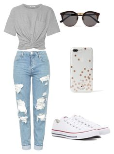 """Casual Outfit"" by bethany-franco on Polyvore featuring T By Alexander Wang, Topshop, Converse, Kate Spade, Illesteva and sunglasses"