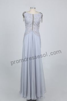 Gray Jewelry Ruched Tencel A-line Evening Party Dress BY008