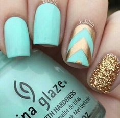 Gold teal turquoise nails