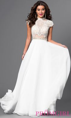 Image of floor length high neck cap sleeve lace top dress Front Image