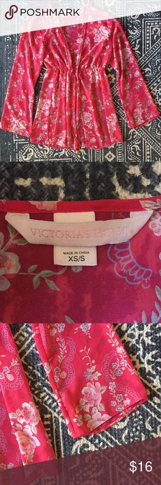 VS lingerie/swim cover up SZ xs/s Perfect condition, worn once! Beautiful floral pattern. Size xs/s. Zero flaws. Synched and ties in the midsection. Perfect for lingerie or swim cover up. Added a photo wearing it for size and I am typically a size medium all across the board. :) Victoria's Secret Other