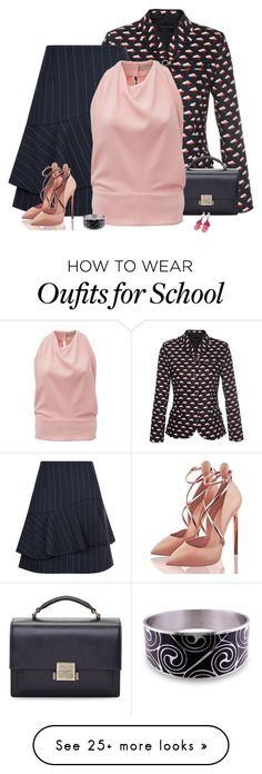 """""""Pinstripes with clouds"""" by csilla06 on Polyvore featuring Claudie Pierlot, Yves Saint Laurent, Balenciaga and Ice"""