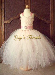 Rosa und Elfenbein Vintage-Stil Jr. Bridesmaid Dress Pageant Kleid Portrait Tutu Spitzenkleid