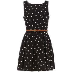 Black polka dot belted dress ($55) ❤ liked on Polyvore