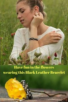 Beautiful Kim modeling my Black Leather Bracelet with Silver Beads and a magnetic clasp.