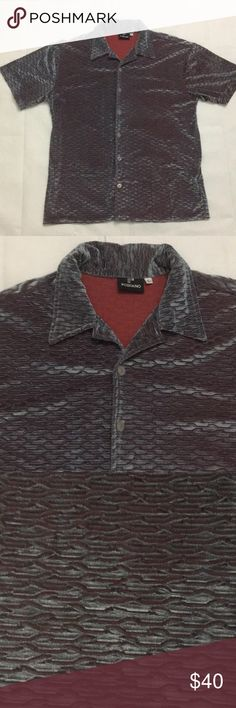 Changes color with the light. Has blue silver and red colors. Chest laying flat Length Positano Shirts Casual Button Down Shirts Positano, Casual Button Down Shirts, Casual Shirts, Disco Shirt, Blue And Silver, Red Color, Men Sweater, Velvet, Man Shop