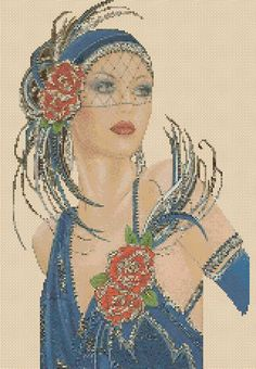 Amazing image is the creation of Flower Power37-UK......Cross stitch chart Art Deco Lady 8a