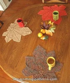 Chestnut Leaf Placemats free crochet pattern - Bring the beauty of fall inside with these delicate crochet doilies
