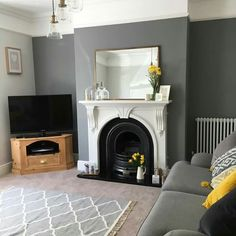 Newest Pics Fireplace Remodel gray Popular A characterful fireplace is such a nice centrepiece to a living room Living Room Inspo, Home Living Room, Living Room Color, Living Dining Room, New Living Room, Living Room Grey, Interior Design Living Room, Cosy Living Room, Victorian Living Room