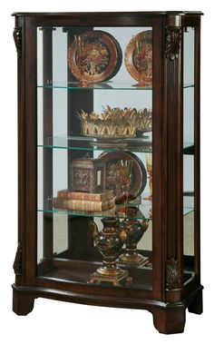 Madison Traditional Brown Wood Glass Mantel Curio