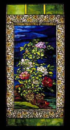"''Peonies in the Wind,'' John La Farge, ca. 1893, leaded glass with copper foil, 142 1/5 × 66"", Seattle Art Museum."