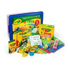 Crayola Super Craft Kit offers hours of endless creative fun. With a wide variety of quality art materials, contained in a reusable storage tub, the Super Craft Kit makes a great gift for children of all ages, or serves as a great solution for rainy day crafts, projects or homework! Contains over 75 pieces including Metallic Crayons, Glitter Crayons, Construction Paper, Scissors, Paints, Paint Brush, Chalk, Model Magic, Shape Cutters, Markers and more...