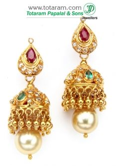 22k Gold Uncut Diamond Jhumkas With Ruby Dangle Earrings Der679 A List