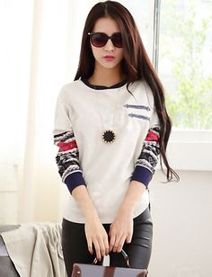 Korean Color Panel Batwing Sleeve Tee For Women | Item Code 727350 at M.EastClothes.com