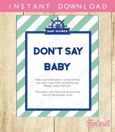 Don't Say Baby Game Baby Shower Games Printable Nautical Don't Say Baby Sign Diaper Pins Clothes Pins Game Instant Download 0001A-T by TppCardS #tppcards #printable #invitations