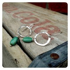 Fine Silver Hammered Hoops with Turquoise by jenjems on Etsy, $28.00