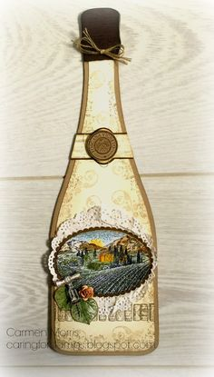 Afbeeldingsresultaat voor tuscan vineyard stampin up Wine Bottle Tags, Wine Tags, Pop Up, Altered Bottles, Paper Tags, Pretty Cards, Crafty Craft, Watercolor Cards, Stamping Up
