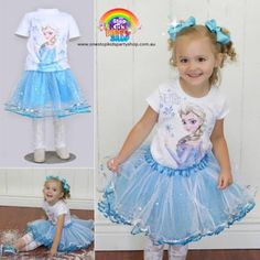 Gorgeous-Frozen-Princess-Elsa-3-PCESET-Tutu-Top-Tights-REDUCE-TO-CLEAR-MUST-GO