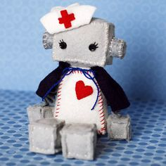 Nurse Robot Plush with Vintage Style Nurse Cap and by GinnyPenny, $30.00