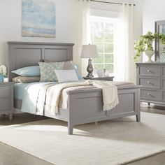 Chelsea Lane Elise Full Size Bed, Multiple Colors, Frost Grey Bed Frame And Headboard, Wood Headboard, Bed Frames, Cheap Bedding Sets, Queen Bedding Sets, Couches, Ideas Dormitorios, House Beds, Wood Beds