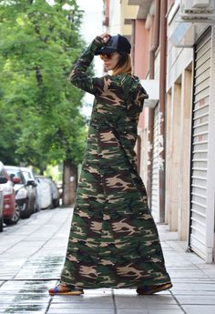 Maxi Camouflage Dress, Plus Size Dress, Hooded Kaftan Dress, Oversize  Casual Dress, Extravagant Long Dress by SSDfashion b4a444aa35