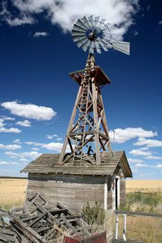 Location Unknown Windmill Tattoo, Farm Windmill, Old Windmills, Water Mill, Country Blue, Building Art, Water Tower, Old Farm, Le Moulin