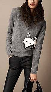 Fox Detail Wool Cashmere Sweater