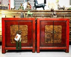 A pair of Restored Bedside Cabinets. Dongbei China. c.1920 #bedsidecabinets #bedsidetable #nookdeco #furniture #asianart #interiordesign #interiors #homedecor