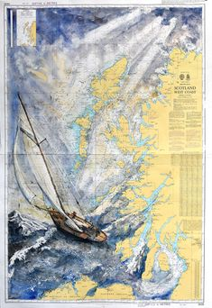 Peinture Arnaud Martin Aquarelle watercolor art carte marine voilier Adobe Portfolio, Art Carte, Vintage World Maps, Diagram, Skull, Abstract, Artwork, Boats, Nautical Chart