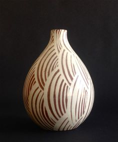 Unique Nils Thorsson Stoneware Hand-Painted Vase - Royal Copenhagen Denmark  #Vase