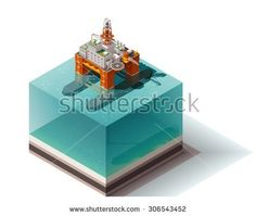 Vector isometric icon or infographic element representing low poly offshore oil platform in the ocean