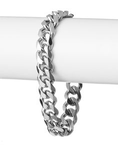 Stephen Oliver Silver Link Bracelet Finish off an edgy industrial look with this polished curb chain design in stainless steel Jewelry