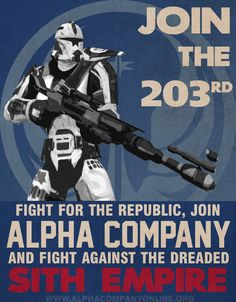 This is a propaganda style poster that I made for the trooper roleplaying guild Alpha Company, on the Jung Ma server, in Star Wars: The Old Republic. Programs used: - Fraps, to capture screen...