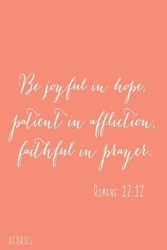 patient in affliction ... God sees us through it - but often times we are too impatient to get that far.