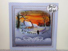 Watercolour Christmas - Winter Sunset by Wayne Swan